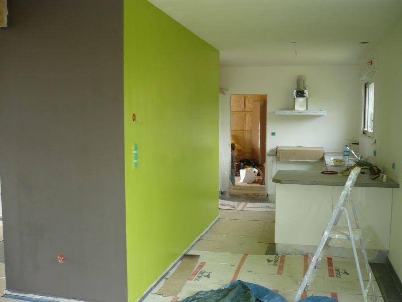 Notre maison en bois dite la cabane - Chambre vert et gris ...